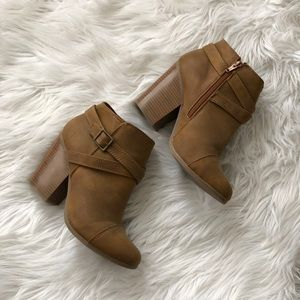 Lauren Conrad Tan Buckle Ankle Booties, Size 9.5